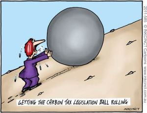 Getting the carbon tax ball rolling - Cartoon by John Ditchburn of inkcinct.com.au/